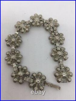 Vintage Art Deco Rhinestone Paste Sterling Silver Signed Bracelet