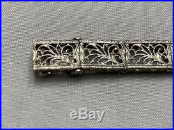 Vintage Art Deco Sapphire Filigree Bracelet 14k White Gold. 7 1/2 Inch. Wow