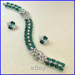 Vintage Art Deco Signed Ktf Early Trifari Emerald & Pave Bracelet & Ears