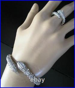 Vintage Art Deco Silver Snake Egyptian Revival Bracelet Ring Emerald Green Glass