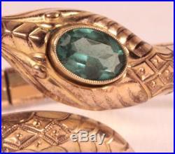 Vintage Art Deco Snake Bracelet Andreas Daub Rolled Gold Filled Aqua Paste Stone