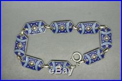 Vintage Art Deco germany Silver sterling 935 blue enamel bracelet