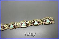 Vintage Czech Art Deco Neiger Oriental enamel green peking glass Pagoda Bracelet