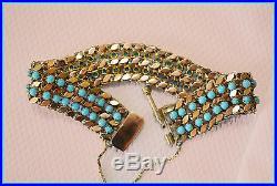 Vintage Estate 14k ROSE GOLD Art Deco Nouveau TURQUOISE Wide Link Bracelet 15.7g