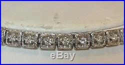 Vintage Estate 14k White Gold Diamond Bracelet Art Deco With Appraisal 3/4 Tcw