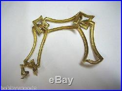 Vintage Estate 14k Yellow Gold Art Deco Over 40 Gram 3 Lg Link 7 1/2 Bracelet