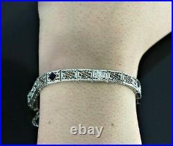 Vintage Estate 18k White Gold Old Miner Cut Diamond Sapphire Art Deco Bracelet