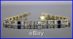 Vintage Estate Filigree Art Deco 14K Gold Platinum Sapphire Diamond Bracelet 7