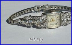 Vintage GENEVA 2ctw Diamond & Platinum Ladies Watch with14K Gold Bracelet ART DECO