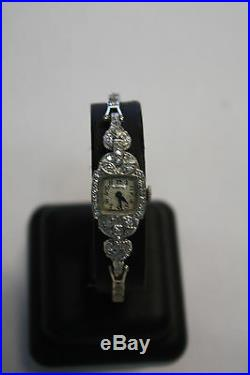 Vintage Hamilton Platinum Case & 14KW Diamond Band Art Deco Ladies