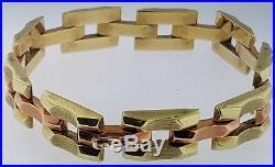 Vintage Hammerman18k Rose+yellow Goldarticulated Braceletgeometricart Deco