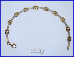 Vintage Jewellery Gold Bracelet White Sapphire Art Deco Antique Jewelry 17.5Cm