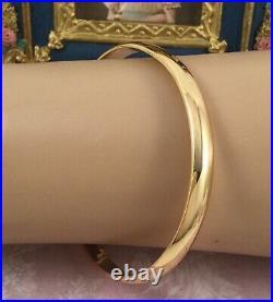Vintage Jewelry Plain Gold Bangle Antique Deco Dress Jewellery large wrist size