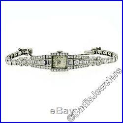 Vintage Ladies Hamilton Wrist Watch 7.79ctw Fine Diamond Platinum Case Bracelet
