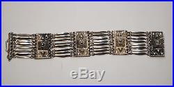 Vintage Mexican Sterling Silver Repousse Art Deco Bracelet