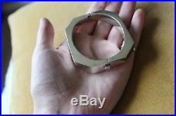 Vintage Octagonal Art Deco Sterling Silver Cuff Bracelet Bangle With Clasp