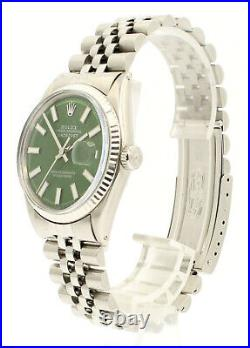 Vintage ROLEX Oyster Perpetual DateJust 36mm GREEN luminescent Dial Watch
