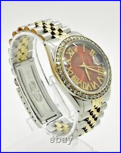 Vintage ROLEX Oyster Perpetual Datejust 1601 36mm Red Roman Dial Diamond Watch
