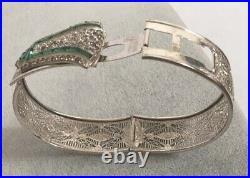 Vintage SAMSAN Silver Filigree Art Deco Green Rhinestone Hinged Bangle Bracelet