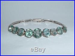 Vintage Silver Art Deco Blue Zircon Bracelet c1930