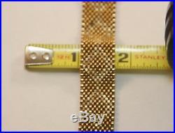Vintage Solid 14k Yellow Gold Mesh Art Deco Belt Buckle Tassel Heavy Bracelet