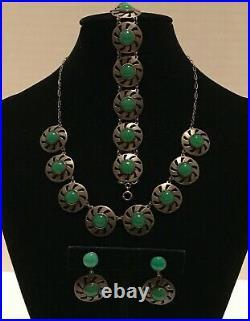 Vintage Sterling Silver Art Deco Chrysoprase Necklace Bracelet Earrings Parure