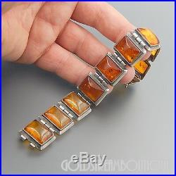 Vintage Sterling Silver Baltic Amber Hinged Wide Art Deco Bracelet 7.25