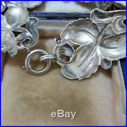 Vintage Sterling Silver Bracelet, Carved Roses, Art Deco, 6.3 Inch, 28 Gr