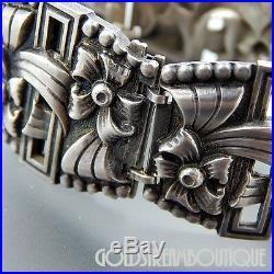 Vintage Sterling Silver Floral Design Wide 5 Panel Art Deco Bracelet 6