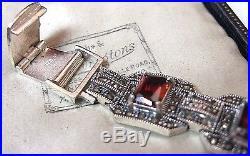 Vintage Style Jewellery Art Deco Solid Silver Marcasite & Crystal Link BRACELET