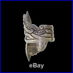 Vintage Taxco Mexico 925 Sterling Silver Art Deco Floral Clamper Bracelet Cuff