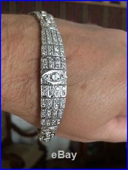 Vintage diamond platinum bracelet stunning Art Deco design 132 diamonds tot6.5ct