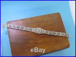 Vintage silver ART DECO 1920's SUNRAY CAMPHOR GLASS CRYSTAL FILIGREE bracelet