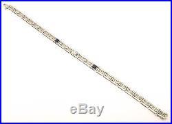 Vtg 18K White Gold Art Deco Bracelet Blue Sapphire Diamond Filigree Antique