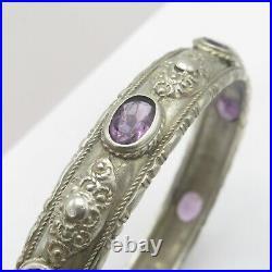 Vtg 1920s 30s Art Deco 800 Silver Amethyst Glass Paste Bangle Italy Bracelet
