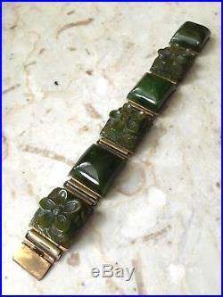 Vtg 1930s-1940s Green Bakelite Link Bracelet. Deeply Carved Flowers Art Deco