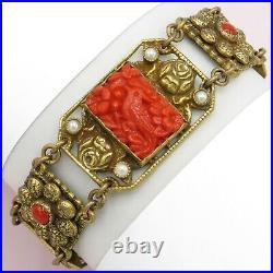 Vtg 1930s Art Deco Czech Molded Coral Red Glass Bird Flower Bracelet