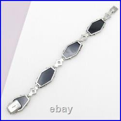 Vtg 1930s Art Deco Geometric Sterling Silver Natural Onyx Marcasite Bracelet
