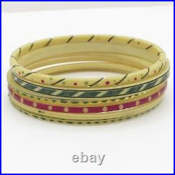 Vtg 1930s Art Deco Incised Celluloid Bangle Bracelet Set