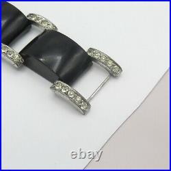 Vtg 1930s Art Deco Machine Age Black Galalith Plastic Paste Glass Link Bracelet