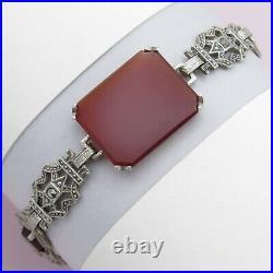 Vtg 1930s Art Deco Sterling Silver Filigree Natural Carnelian Marcasite Bracelet
