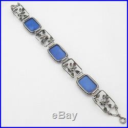 Vtg 1930s Art Deco Sterling Silver Lapis Blue Glass Flower Leaf Bracelet