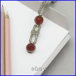 Vtg 1930s Art Deco Sterling Silver Natural Carnelian Bullet Cut & Paste Bracelet