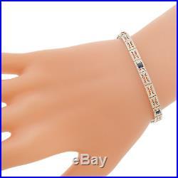Vtg Antique Art Deco 10k White Gold Sapphire Blue Filigree Bracelet Original