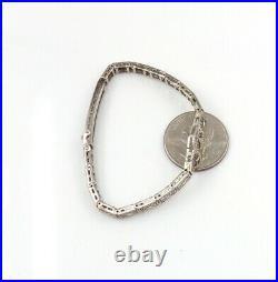 Vtg Antique Art Deco White Gold Filigree Emerald & Diamond Tennis Bracelet LJA2