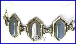 Vtg Art Deco Gold Over Sterling Silver Marcasite Chalcedony Bracelet