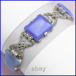 Vtg Art Deco Hydrangea Blue Chalcedony Sterling Silver Marcasite Bracelet