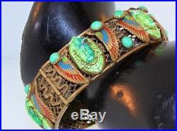 Vtg Art Deco MAX NEIGER Czech Egyptian Pharoah Revival Brass Bangle Bracelet