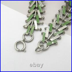 Vtg Art Deco Machine Age Chrome Enamel Jakob Bengel Necklace Bracelet Set