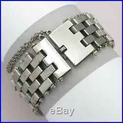 Vtg Art Deco Machine Age Jakob Bengel Brick Link Chrome Bracelet